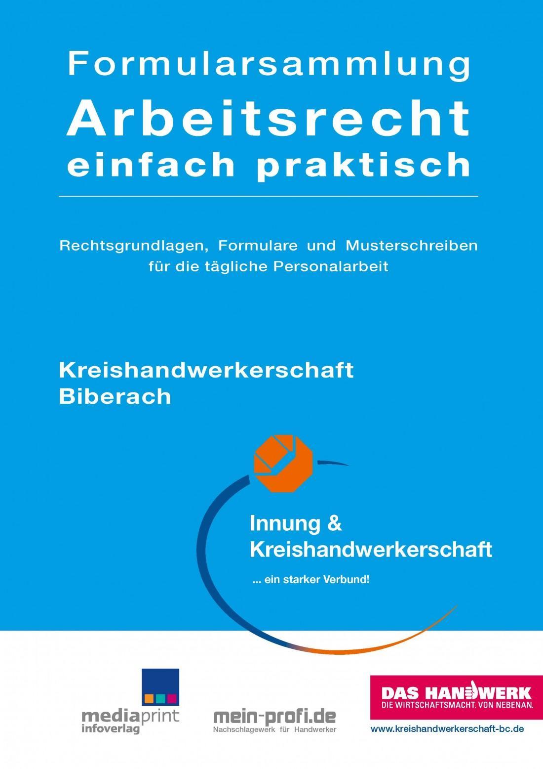 Formularsammlung Arbeitsrecht einfach praktisch Kreishandwerkerschaft Biberach (Auflage 2)