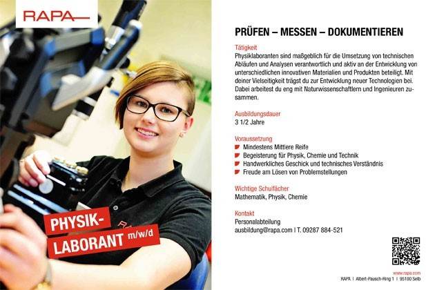 Ausbildung Physiklaborant (m/w/d)